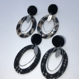 Two Pair Plaid and Tortoise shell Earrings NWT